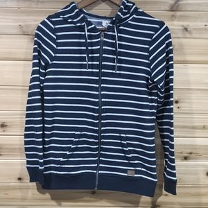 Roxy Navy Blue and White Striped Zip Hoodie Small